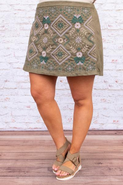 skirt, short, above the knee, embroidered, moss, green, lavender, straight fit