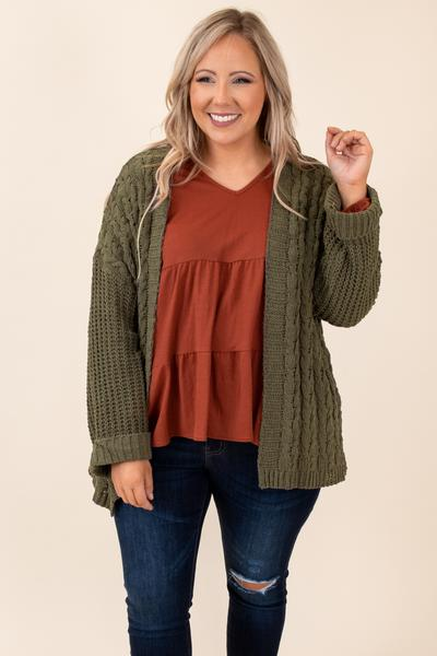 cardigan, top, solid, long sleeve, olive, open front, comfy