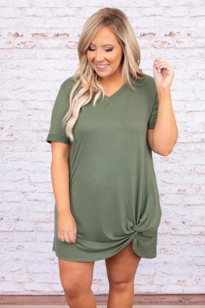 dress, short dress, short sleeve, army, green, comfy, v neck, knotted hemline, above the knee