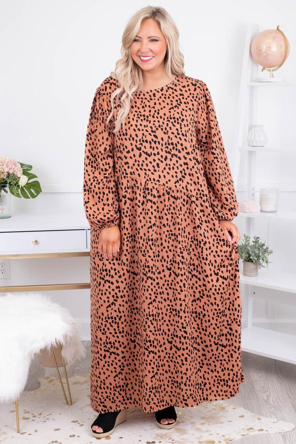 dress, maxi, long sleeve, bubble sleeves, flowy, orange, black, leopard, comfy