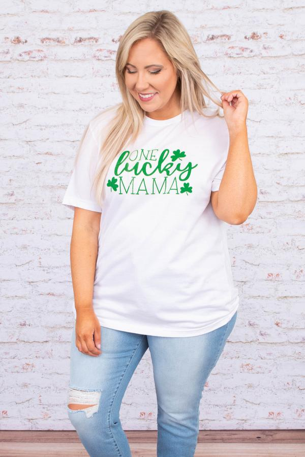 tshirt, short sleeve, curved hem, long, loose, white, graphic, one lucky mama, clovers, green, comfy