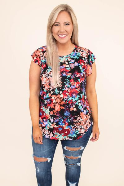 shirt, short sleeve, curved hem, long, loose, black, floral, blue, orange, green, red, yellow, comfy
