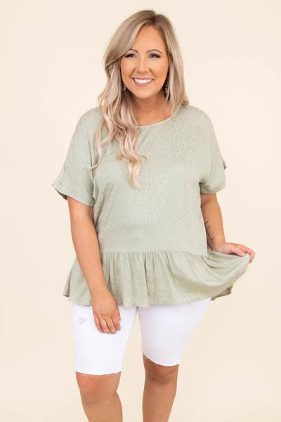 shirt, top, green, leopard, baby doll, short sleeve, loose, comfy