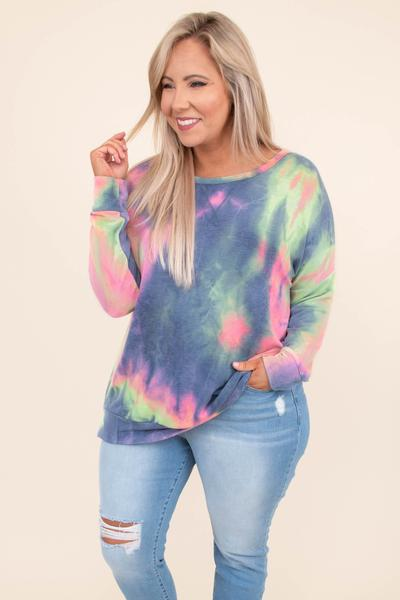 shirt, long sleeve, long, loose, blue, pink, green, tie dye, comfy