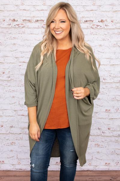 top, cardigan, green, solid, long sleeve