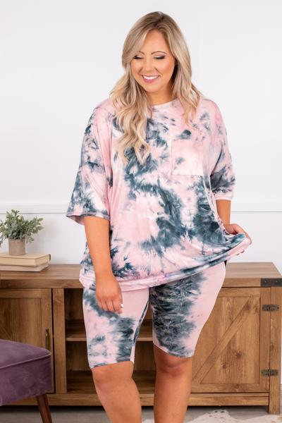 shir,t top, short sleeve, loose, comfy, tie dye, pink, gray, lounge wear, front pocket