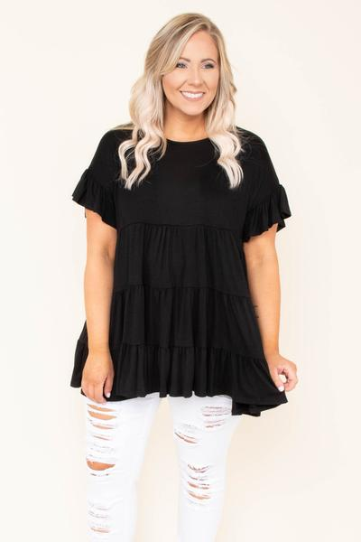 top, basic, babydoll top, black, solid, short sleeve