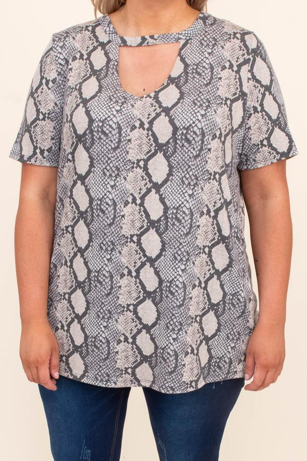 shirt, top, short sleeve, taupe, printed, snakeskin, v neck cutout, loose, comfy