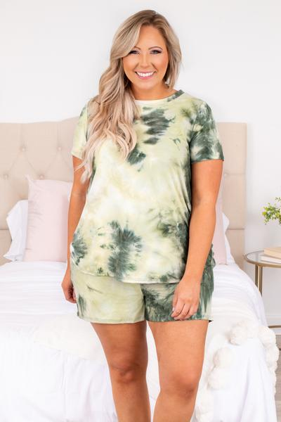 shirt, top, lounge wear, lounge top, tie dye, olive, green, short sleeve, loose, comfy