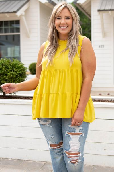 top, babydoll top, yellow, comfy, solid, sleeveless