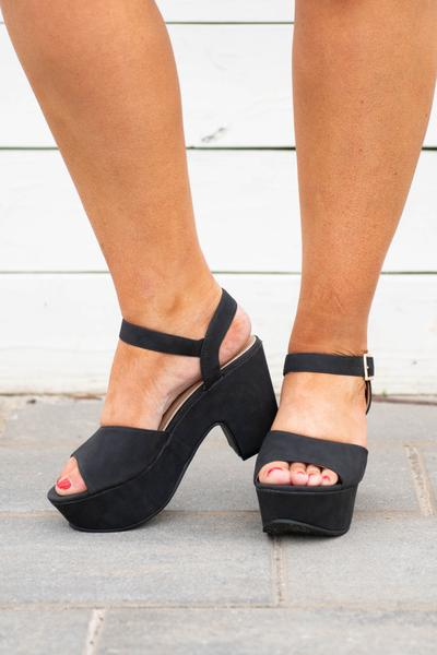 shoes, wedges, black, solid
