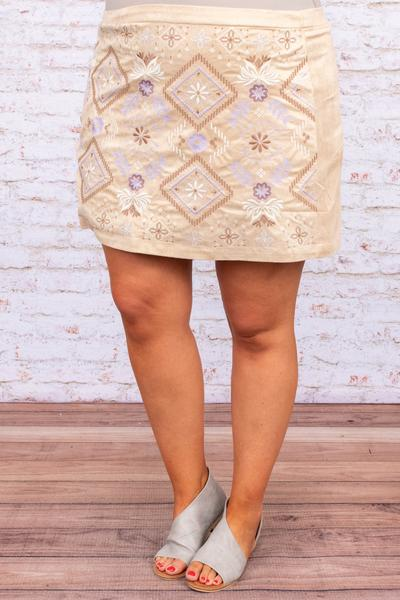 skirt, bottoms, short skirt, above the knee, tan, embroidered