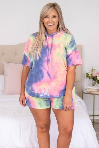 short sleeve, tie dye, hoodie, comfy, split seam, over sized, loose, lounge wear,