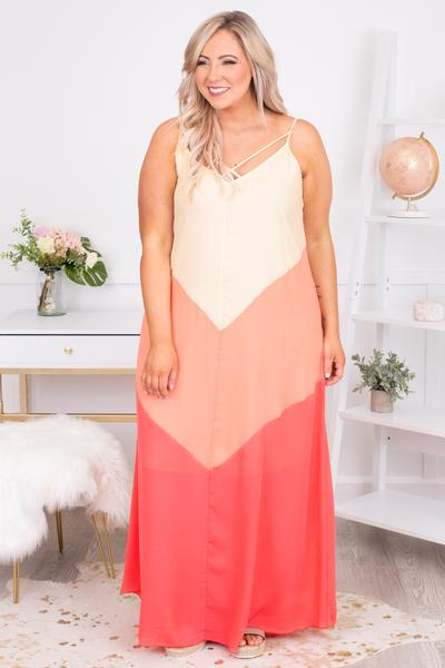 dress, maxi, sleeveless, spaghetti straps, vneck, crisscross neckline, flowy, coral, peach, tan, chevron, comfy