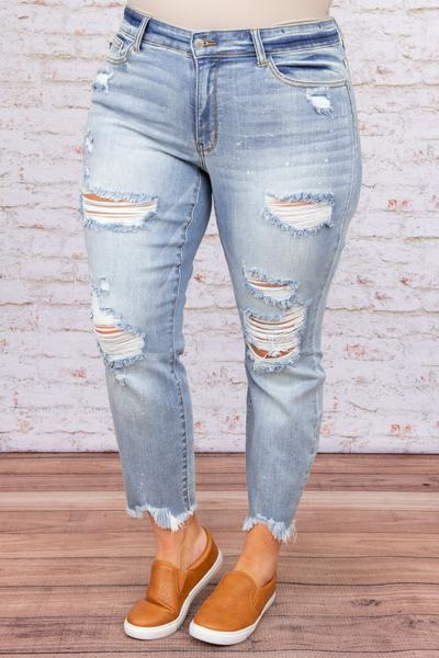 botttoms, jeans, ripped, blue, distressed, boyfriend, light wash