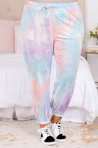 bottoms, pants, lounge wear, lounge pants, tie dye, loose, comfy, lavender, blue, pink, joggers
