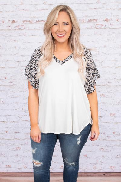 shirt, short sleeve, ruffle sleeves, vneck, curved hem, loose, white, leopard sleeves, taupe, comfy