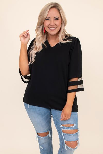 top, blouse, short sleeve, detailed sleeve, black, v neck