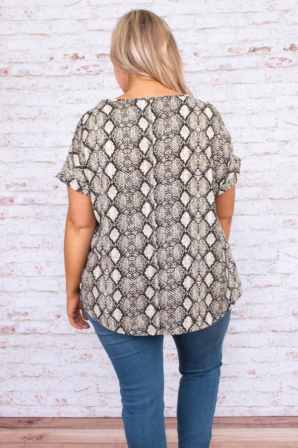 shirt, top, short sleeve, snakeskin print, taupe, loose. comfy