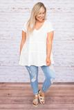 shirt, short sleeve, vneck, babydoll, tiered, long, flowy, white, comfy, spring, summer