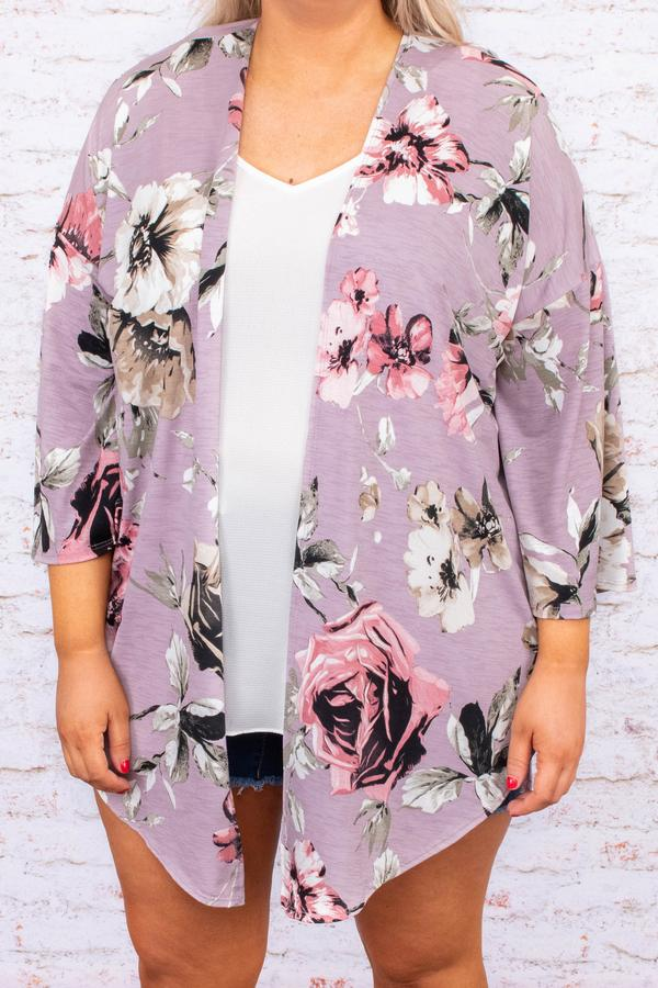cardigan, three quarter sleeve, asymmetrical hem, open front, lavender, floral, pink, black, white, taupe, green, comfy, outerwear, spring, summer