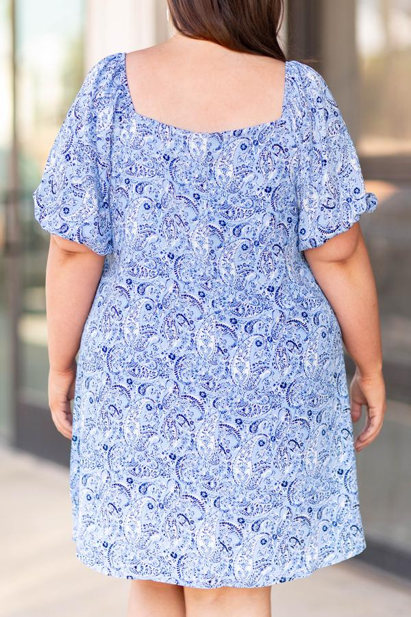 dress, short, mid length sleeve, placid blue, print