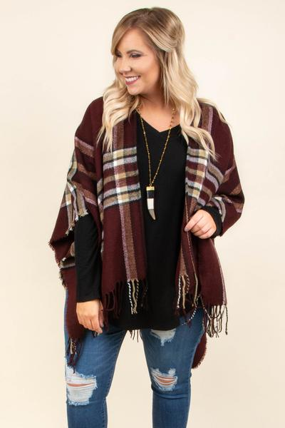 Twice As Nice Poncho, Burgundy
