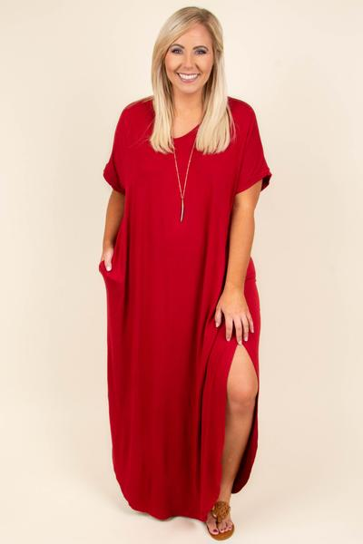 dress, maxi dress, red, short sleeve, v neck, slit in the side, curved hem
