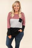 top, long sleeve, color block, stripe, mauve, black, front pocket