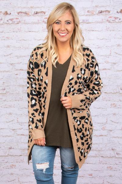 cardigan, sweater, knit, tan, leopard print, pockets, cozy, comfy