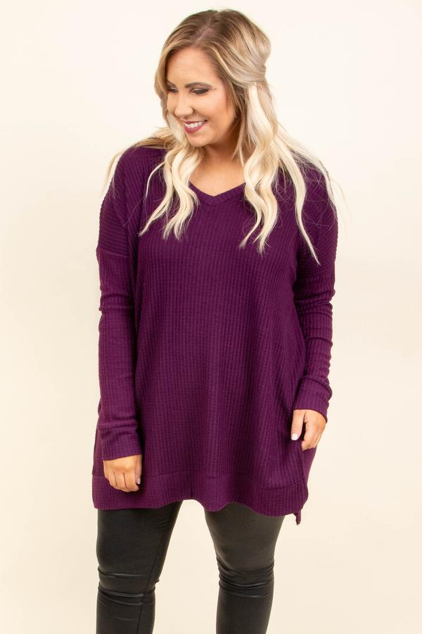 top, tunic, purple, plum, solid, long sleeve, vneck, comfy, casual, layer, winter